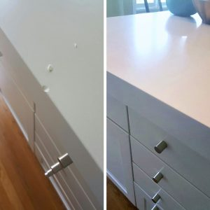 Image that shows before and after countertop repair